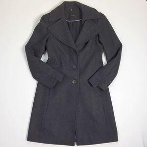 Tahari Dark Gray Wool Blend Long Pea Coat